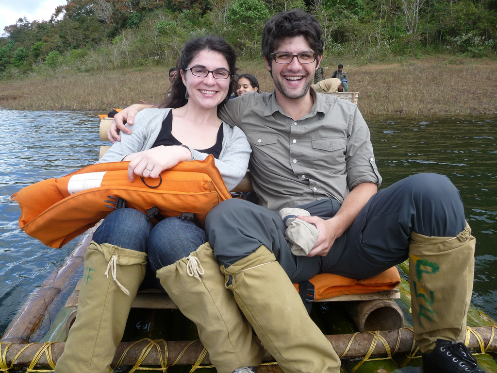 Julie and Sam on a raft
