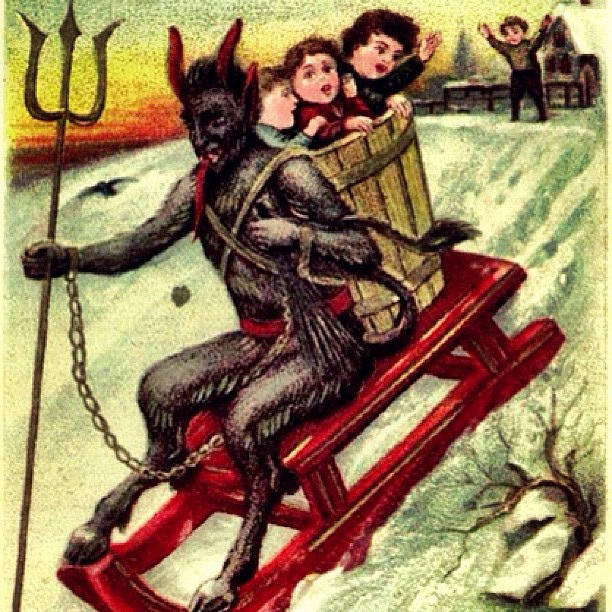 Krampus on a sled