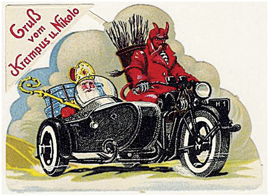 A vintage Christmas card with Krampus as St. Nicholas's driver.